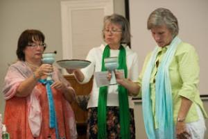 Ann Harrington presides at Stole Ceremony, Free Spirit Inclusive Catholic Community, Greenville, NC, 8/23/15
