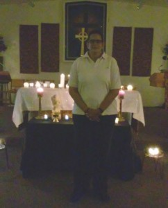 Ronnie Dubignon preparing for the evening Taize Healing Service at Spirit of Life, MCC Church, Port Richey, FL, September 16, 2015