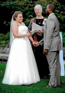 Mary Theresa Streck officiating at a wedding, August 2014