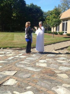 Ministry is about prayer... ARCWP Candidate to the Diaconate, Tee Kasper being blessed by Kareana moments before her ordination!