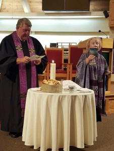 Rev. Greg Russell of St. Andrew United Church and Bishop Bridget Mary Meehan of ARCWP celebrated an Ecumenical Eucharist which included the distribution of ashes, marking the beginning of Lent.