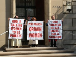 Roman Catholic Women Priests Jane Via and Janice Sevre Duszynska; former Maryknoll Priest Roy Bourgeois occupy steps of Vatican Embassy on Holy Thursday to protest Vatican policy on women priests, March 24, 2016
