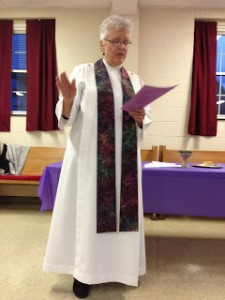 Bishop Mary Eileen Collingwood, liturgy at St. Bridget's Community in Cleveland area on Holy Thursday, March 24, 2016