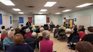"Mary Theresa Streck and Bridget Mary Meehan of ARCWP present ""Women Priests Now & Then"" at Woodstock Jewish Community Center"