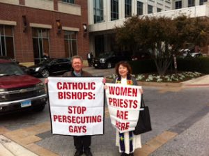 Janice Sevre Duszynska, ARCWP Preist and Roy Bourgeois witness for women priests, November 2016 and justice for gays at U.S. Bishops meeting